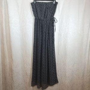 GAP Strapless Print Maxi Dress Black White Size S
